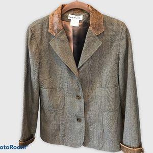 Harve Benard tweed Blazer Wool Leather Trim Jacket